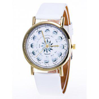 Planet Pattern Faux Leather Watch - WHITE WHITE