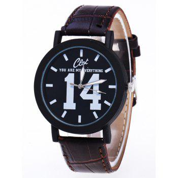 1314 Forever Faux Leather Quartz Watch - BROWN BROWN