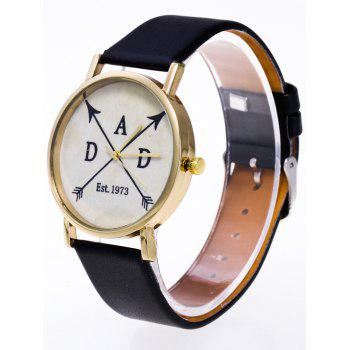 Faux Leather Arrow Quartz Watch -  BLACK