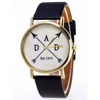 Faux Leather Arrow Quartz Watch - BLACK BLACK