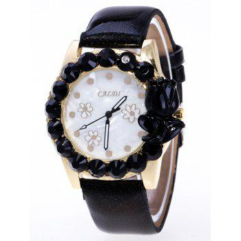 Faux Leather Rhinestoned Watch