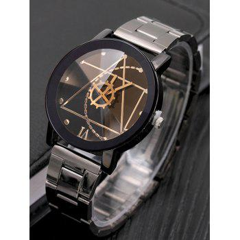 Gear Geometric Quartz Steel Band Watch - BLACK
