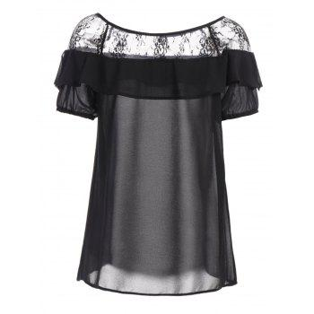 Lace Trim Ruffle Top - BLACK 2XL