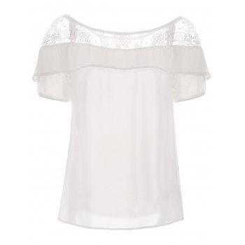 Lace Trim Ruffle Top