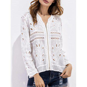 Embroidered Crochet Zip Up Blouse