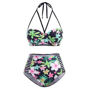 Floral High Waist Plus Size Cutout Bikini