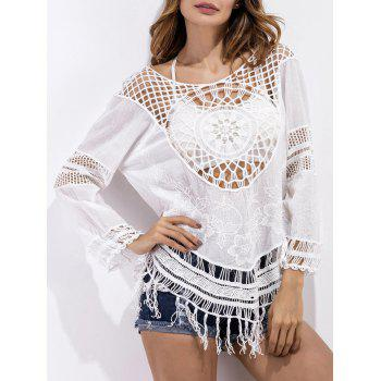 Floral Embroidered Crochet Fringed Blouse