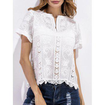Crochet Embroidered Scalloped Blouse