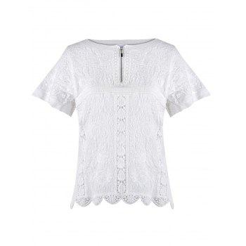 Crochet Embroidered Scalloped Blouse - ONE SIZE ONE SIZE