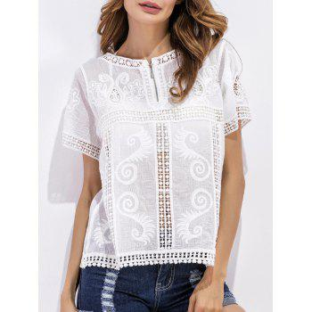 Embroidered Crochet Openwork Zippered Blouse