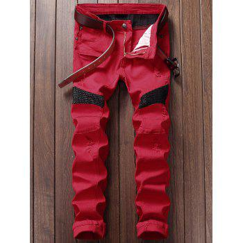 Zipper Fly Straight Leg Biker Jeans