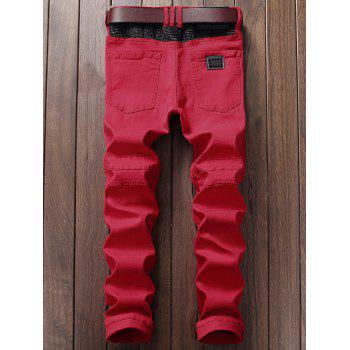 Zipper Fly Straight Leg Biker Jeans - RED 29