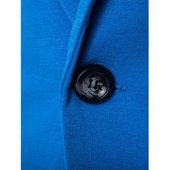 Cotton Blends Lapel One Button Blazer - LAKE BLUE 2XL
