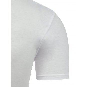 Half Button Short Sleeve Asymmetric Tee - WHITE 2XL