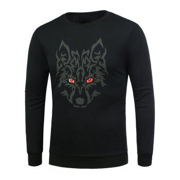 Long Sleeve Snow Wolf Pattern T-Shirt