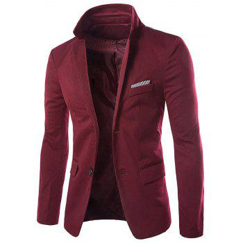 Swallow Gird Panel Single Breasted Blazer - WINE RED XL