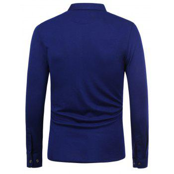 Chest Pocket Slim Fit Long Sleeve Shirt - BLUE XL