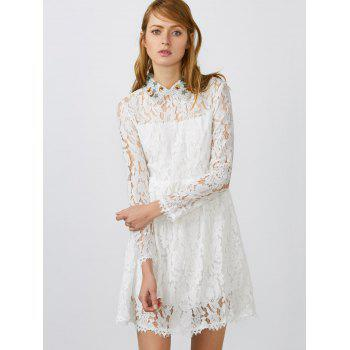 Flat Collar Lace Club Mini Short Prom Skater Dress - WHITE M