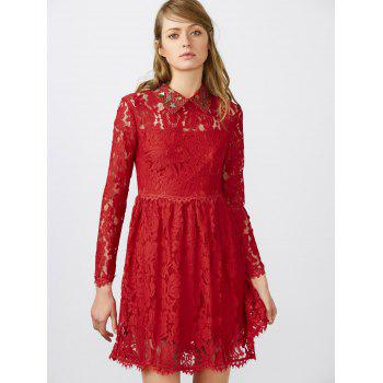 Flat Collar Lace Club Mini Short Prom Skater Dress - RED RED