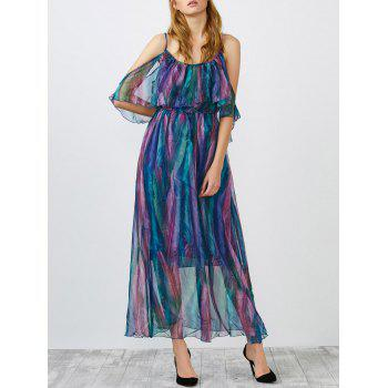 Cold Shoulder Flounce Chiffon Maxi Swing Dress