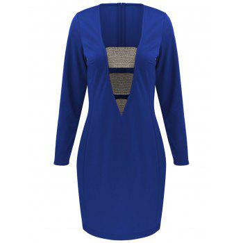 Long Sleeve Mini Bodycon Cut Out Bandage Dress - BLUE 2XL