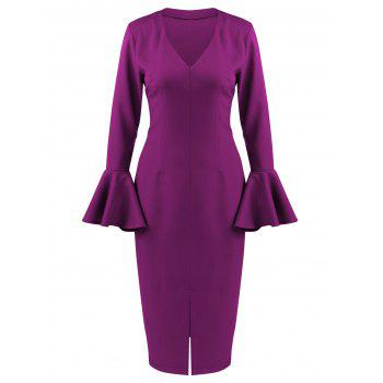 Flare Long Sleeve Tea Length Bodycon Formal Dress - PURPLE L