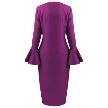 Flare Long Sleeve Tea Length Bodycon Formal Dress - L L