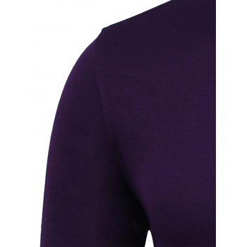 Chest Pocket Slim Fit Long Sleeve Shirt - PURPLISH RED 3XL