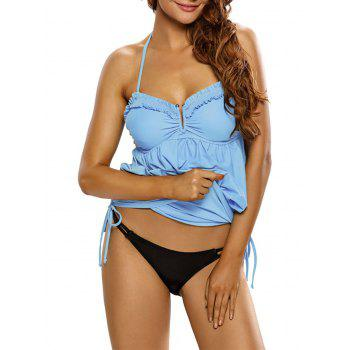 Ruched Ruffled Halter Blouson Swimsuit - ICE BLUE ICE BLUE