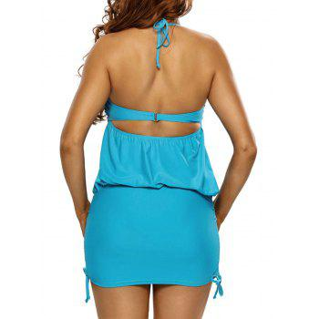 Ruché Ruffled Halter Blouson Maillot - Pers S