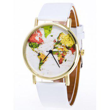Faux Leather World Map Watch - WHITE WHITE
