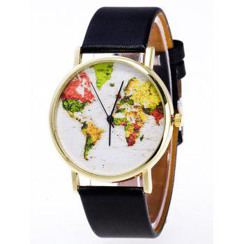 Faux Leather World Map Watch - BLACK BLACK