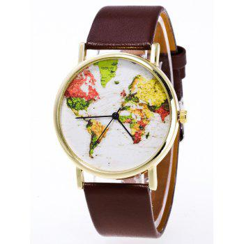 Faux Leather World Map Watch - BROWN BROWN