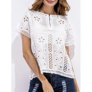 Zipper Design Floral Crochet Blouse