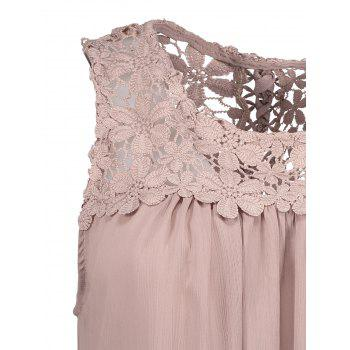 Sans manches en dentelle Criss Cross Chemisier en mousseline - Pale Rose Gris L