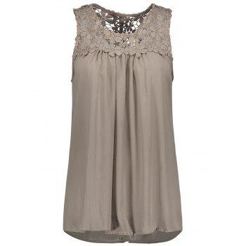 Sleeveless Lace Insert Criss Cross Chiffon Blouse