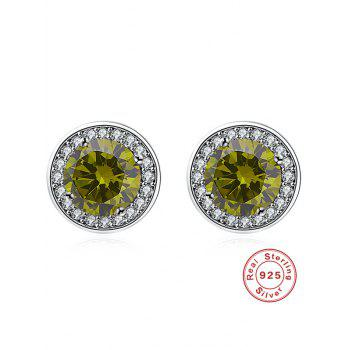 Faux Gemstone Rhinestone Stud Earrings - GREEN GREEN
