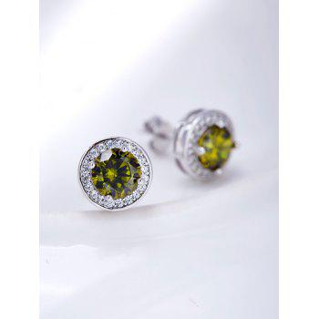 Faux Gemstone Rhinestone Stud Earrings -  GREEN