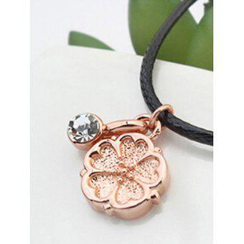 Artificial Corde en cuir strass Collier Fleur - Or Rose