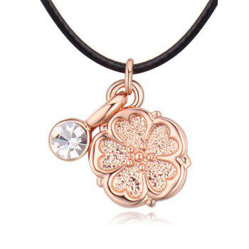 Artificial Leather Rope Rhinestone Flower Necklace