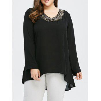 High Low Hem Blouse with Studded
