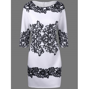 Concealed Rear Zip Floral Dress - WHITE AND BLACK L