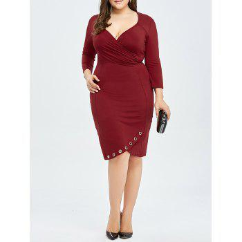 Plus Size Fitted Surplice Dress with Eyelet