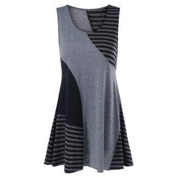 Pinstripe Trim Sleeveless Longline T-Shirt