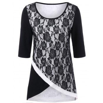 Lace Trim Floral Overlap T-Shirt - WHITE AND BLACK M