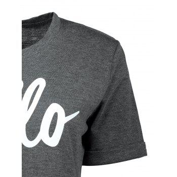 Cuffed Sleeve Hello Graphic T-Shirt - GRAY GRAY