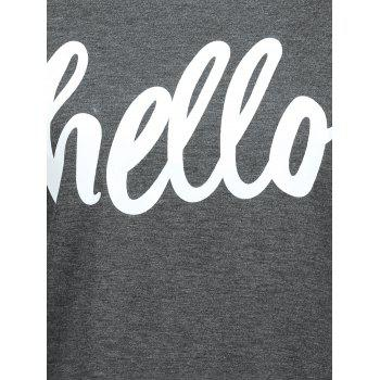 Cuffed Sleeve Hello Graphic T-Shirt - M M