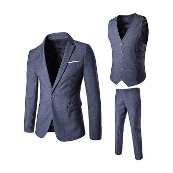 Lapel One Button Edging Waistcoat Three Piece Suit