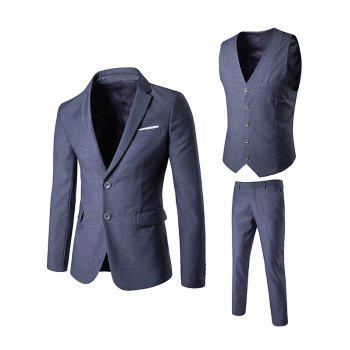 Edging Single Breasted Waistcoat Three Piece Suit