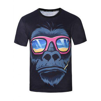 3D Sunglasses Orangutan Print T-Shirt - COLORMIX 2XL